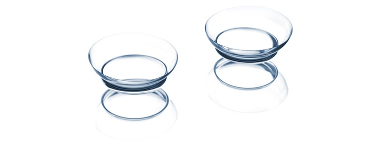 Contact lenses with a white background