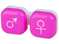 """alensa.lt - kontaktiniai lęšiai - Lęšių dėkliukas """"Vyras ir moteris"""" (rožinis)"""