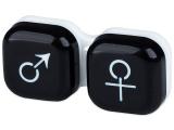 """alensa.lt - kontaktiniai lęšiai - Lęšių dėkliukas """"Vyras ir moteris"""" (juodas)"""