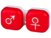 """alensa.lt - kontaktiniai lęšiai - Lęšių dėkliukas """"Vyras ir moteris"""" (raudonas)"""